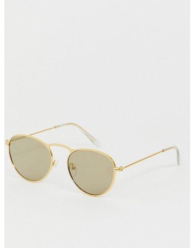 Occhiali Oro uomo Occhiali da sole rotondi in metallo oro con lenti a specchio oro - ASOS DESIGN