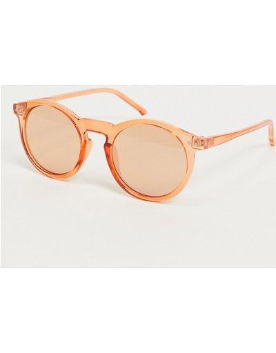 Occhiali Arancione uomo Occhiali da sole rotondi in plastica arancioni - ASOS DESIGN - Arancione