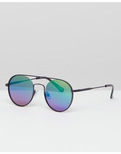 Occhiali Nero uomo Occhiali da sole rotondi nero metallico con lenti arcobaleno a specchio - ASOS DESIGN