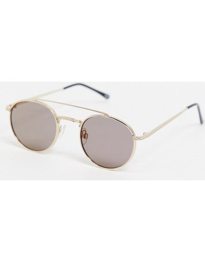 Occhiali Argento uomo Occhiali da sole rotondi oro con barretta e lenti fumé - ASOS DESIGN - Argento