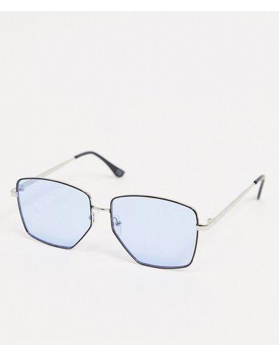Occhiali Argento uomo Occhiali da sole squadrati argento con lenti blu - ASOS DESIGN
