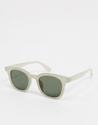 Occhiali Grigio uomo Occhiali da sole squadrati grigi con lenti verdi - ASOS DESIGN - Grigio