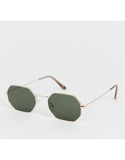 Occhiali Oro uomo Occhiali da sole squadrati in metallo oro con lenti fumé - ASOS DESIGN