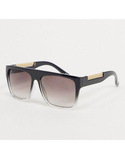 Occhiali Nero uomo Occhiali da sole squadrati neri con stanghette con catena e lenti sfumate - ASOS DESIGN - Nero