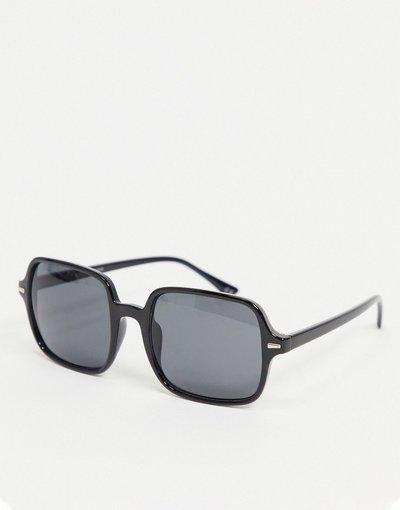 Occhiali Nero uomo Occhiali da sole squadrati oversize neri di plastica con lenti fumé - ASOS DESIGN - Nero