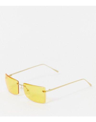 Occhiali Giallo uomo Occhiali da sole squadrati senza bordo color oro con lenti gialle anni'90 - ASOS DESIGN - Giallo