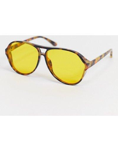 Occhiali Marrone uomo Occhiali da sole tartarugati stile navigatore anni'80 oversize con lenti gialle - ASOS DESIGN - Marrone