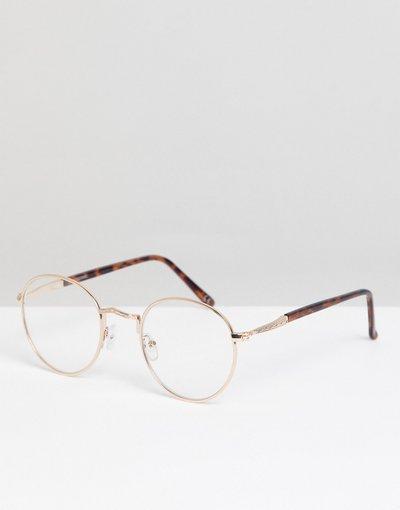 Occhiali Marrone uomo Occhiali fashion in metallo oro e tartarugati con lenti trasparenti - ASOS DESIGN - Marrone