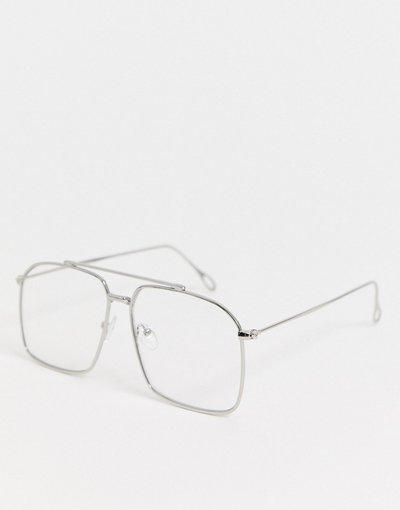 Occhiali Argento uomo Occhiali fashion navigator in metallo argento con lenti trasparenti - ASOS DESIGN