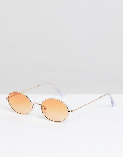 Occhiali Oro uomo Occhiali ovali oro con lenti arancioni - ASOS DESIGN