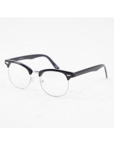 Occhiali Nero uomo Occhiali rétro neri con lenti trasparenti - ASOS DESIGN - Nero