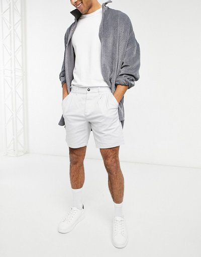 Grigio pietra uomo Pantaloncini chino con taglio a sigaretta grigio chiaro - Grigio pietra - ASOS DESIGN