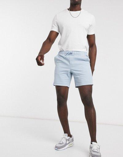 Blu uomo Pantaloncini chino slim fit azzurro pastello con vita elastica - ASOS DESIGN - Blu