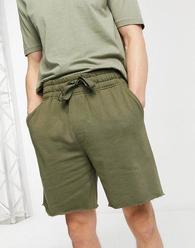 Pigiami Verde uomo Pantaloncini comodi da casa con bordo grezzo color kaki - ASOS DESIGN - Verde