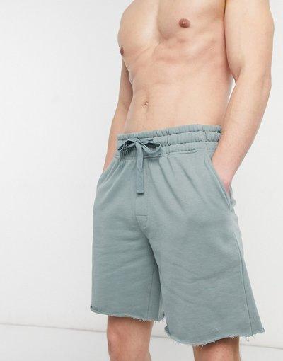 Pigiami Grigio uomo Pantaloncini comodi da casa con bordo grezzo colore blu scuro - ASOS DESIGN - Grigio