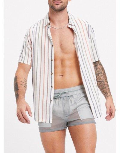 Costume Grigio uomo Pantaloncini da bagno con rete sovrapposta grigi - ASOS DESIGN - Grigio