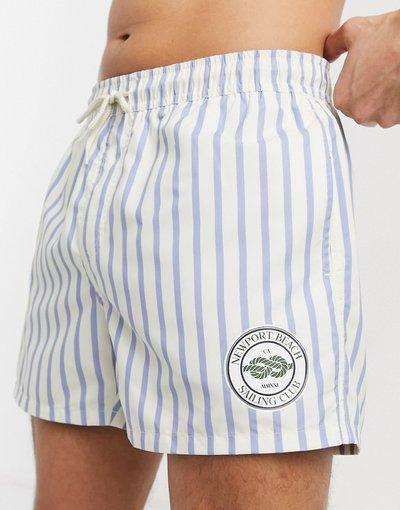 Costume Multicolore uomo Pantaloncini da bagno con taglio corto a righe e logo del beach club - ASOS DESIGN - Multicolore