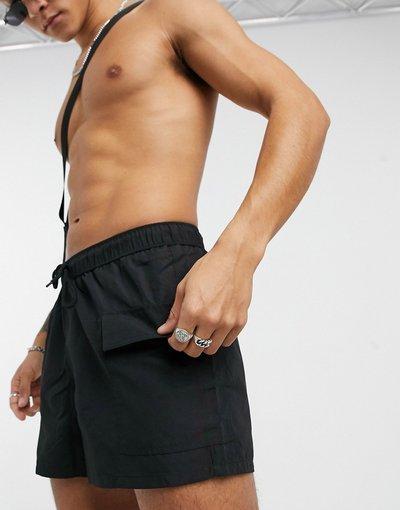 Costume Nero uomo Pantaloncini da bagno con tasche cargo neri - ASOS DESIGN - Nero