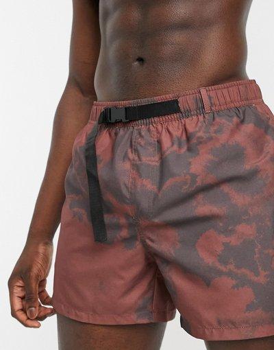 Costume Marrone uomo Pantaloncini da bagno corti con stampa marrone e cintura in tessuto - ASOS DESIGN