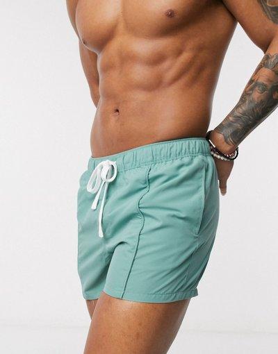 Costume Verde uomo Pantaloncini da bagno corti verde - azzurro con pinces sul davanti - ASOS DESIGN