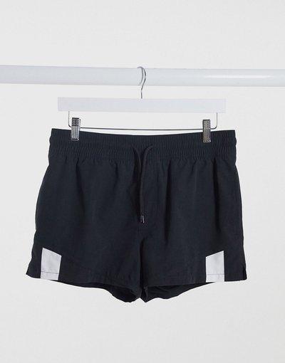 Costume Nero uomo Pantaloncini da bagno cut and sew neri super corti - ASOS DESIGN - Nero