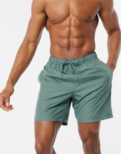 Costume Verde uomo Pantaloncini da bagno lunghezza media in tessuto lucido verde - ASOS DESIGN