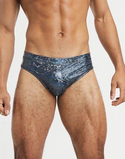 Costume Blu uomo Pantaloncini da bagno metallici corti - ASOS DESIGN - Blu
