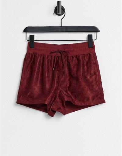 Costume Rosso uomo Pantaloncini da bagno molto corti bordeaux in rete a maglia grossa - ASOS DESIGN - Rosso