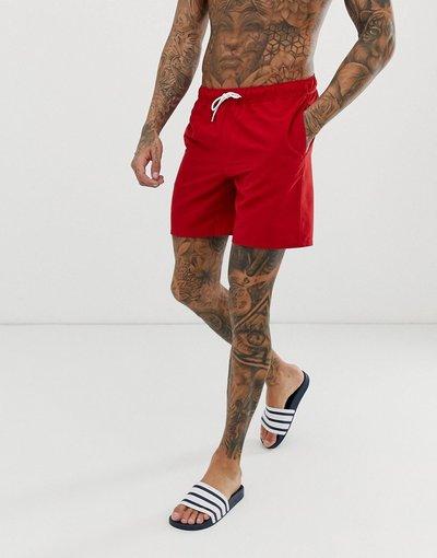 Costume Rosso uomo Pantaloncini da bagno rossi lunghezza media - ASOS DESIGN - Rosso