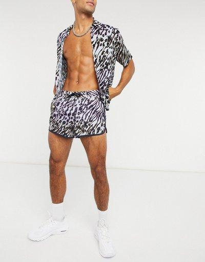 Costume Multicolore uomo Pantaloncini da bagno stile running con stampa animalier sfumata - ASOS DESIGN - Multicolore