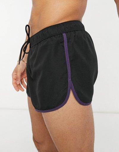 Costume Nero uomo Pantaloncini da bagno stile running neri con profili a contrasto - ASOS DESIGN - Nero