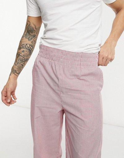 Pigiami Rosso uomo Pantaloncini da casa con elastico in vita largo, colore rosso rigato - ASOS DESIGN