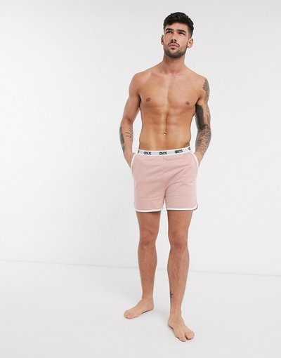 Pigiami Rosa uomo Pantaloncini da corsa e da casa rosa polvere con elastico con logo - ASOS DESIGN