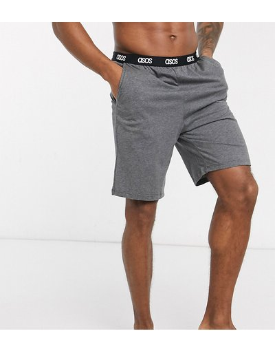 Pigiami Grigio uomo Pantaloncini del pigiama antracite mélange con elastico in vita con logo - ASOS DESIGN - Grigio