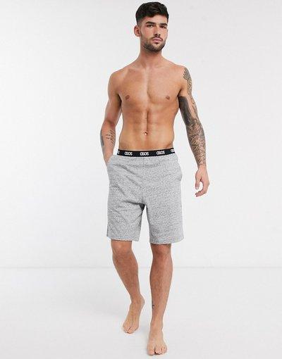 Pigiami Grigio uomo Pantaloncini del pigiama antracite mélange fiammati con logo in vita - ASOS DESIGN - Grigio