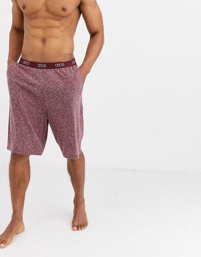 Pigiami Rosso uomo Pantaloncini del pigiama bordeaux mélange con elastico in vita con logo - ASOS DESIGN - Rosso