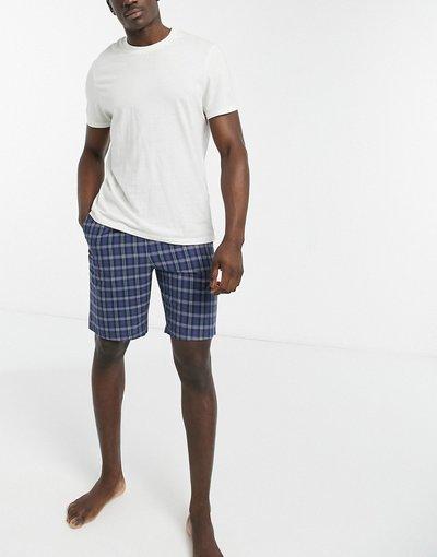 Pigiami Blu uomo Pantaloncini del pigiama da casa blu a quadri - ASOS DESIGN