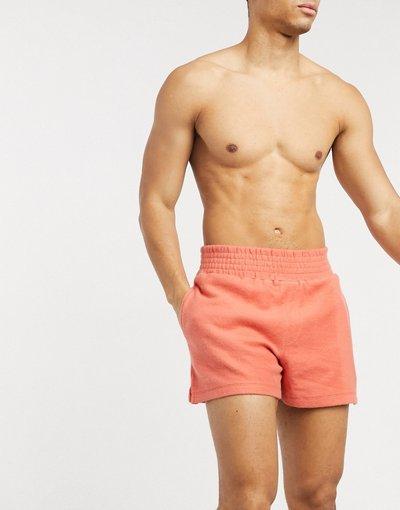 Pigiami Arancione uomo Pantaloncini del pigiama da casa in jersey testurizzato ruggine con ampia fascia in vita - ASOS DESIGN - Arancione