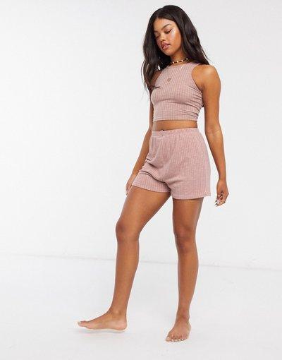 Pigiami Rosa donna Pantaloncini del pigiama mix&match a coste rosa polvere - ASOS DESIGN