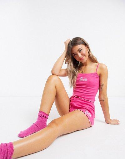 Pigiami Rosa donna Pantaloncini del pigiama mix&match con stampa di Barbie - ASOS DESIGN - Rosa