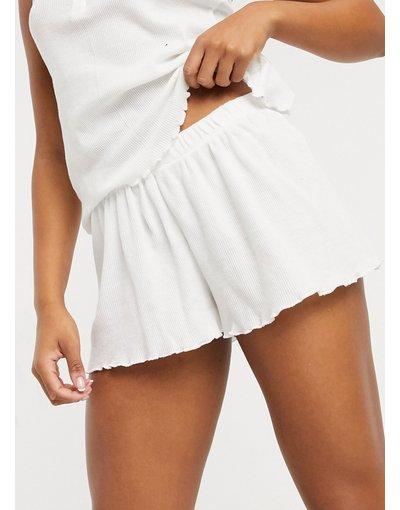 Pigiami Bianco donna Pantaloncini del pigiama mix&match in piqué con fondo ondulato bianchi - ASOS DESIGN - Bianco