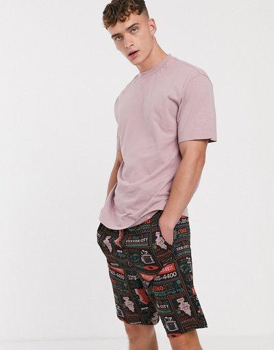 Pigiami Multicolore uomo Pantaloncini del pigiama neri con motel - ASOS DESIGN - Multicolore
