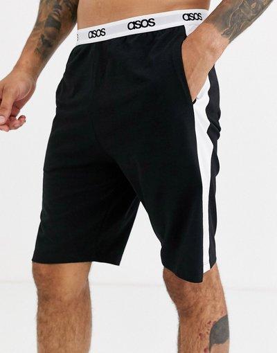 Pigiami Nero uomo Pantaloncini del pigiama neri con riga laterale - ASOS DESIGN - Nero