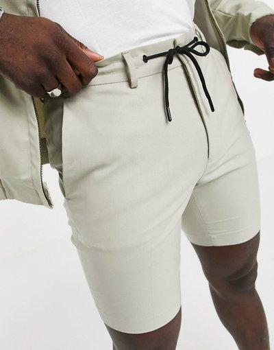 Grigio pietra uomo Pantaloncini eleganti con coulisse color pietra in coordinato - Grigio pietra - ASOS DESIGN