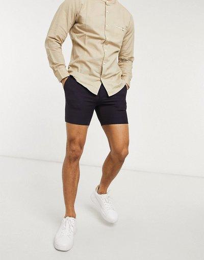 Viola uomo Pantaloncini eleganti super skinny in tessuto tonic prugna - ASOS DESIGN - Viola