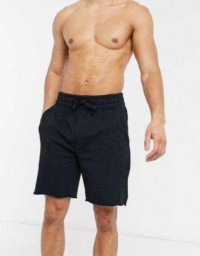 Pigiami Nero uomo Pantaloncini neri comodi da casa con bordo grezzo - ASOS DESIGN - Nero