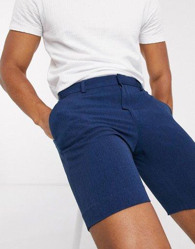 Navy uomo Pantaloncini Oxford eleganti skinny blu navy - ASOS DESIGN