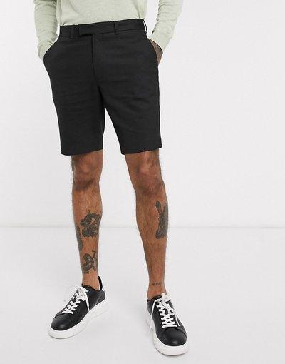 Nero uomo Pantaloncini slim eleganti di media lunghezza neri - ASOS DESIGN - Nero