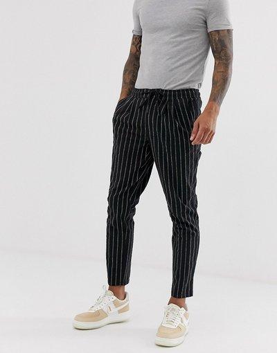 Pantalone Nero uomo Pantaloni a sigaretta con vita elastica a righe testurizzate - ASOS DESIGN - Nero