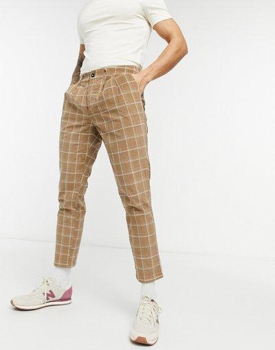 Marrone uomo Pantaloni a sigaretta testurizzati a quadri - ASOS DESIGN - Marrone